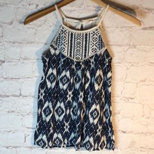 REWIND BLUE & WHITE LACE/SHEER SIZE MED TANK TOP